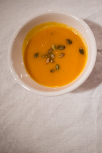 "winter squash soup - ""savory soup made from roasted winter squash and red pepper"""