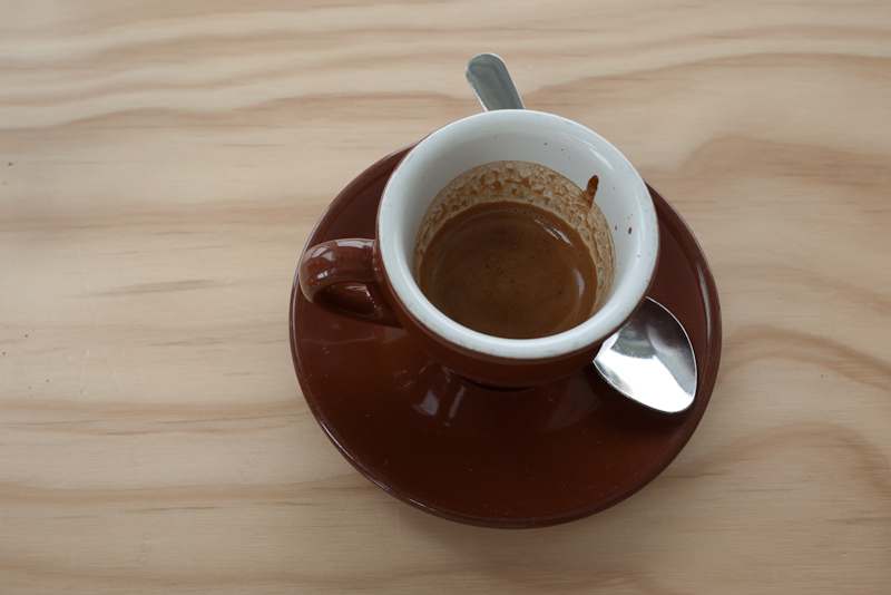 espresso with blue bottle