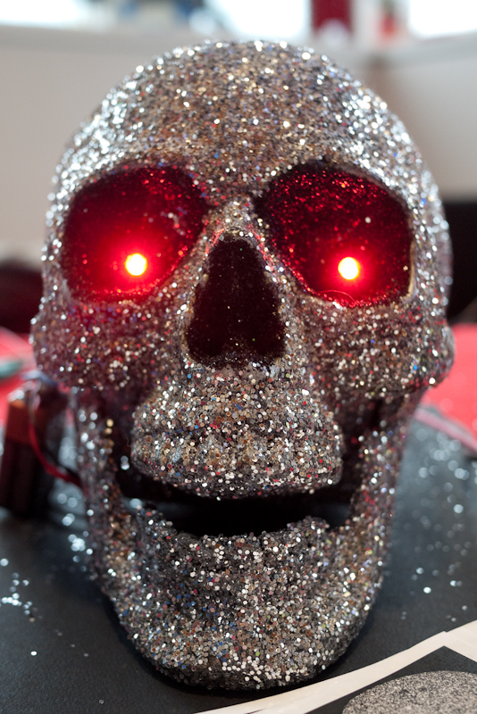 skull with LEDs