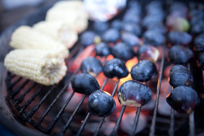 figs and corn on the grill