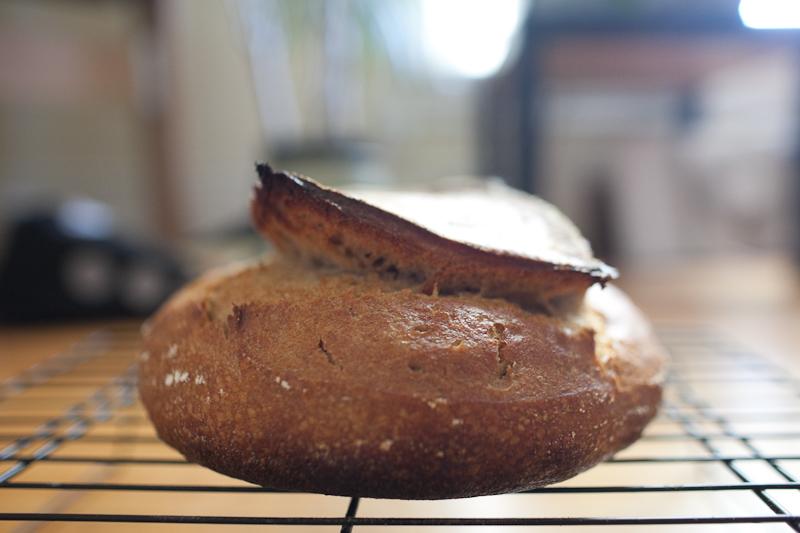 30% rye 10% spelt sourdough loaf, side view