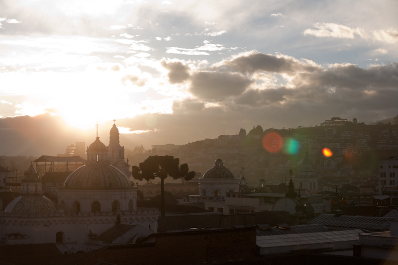 sunrise over the domes of la iglesia de la compania de jesus