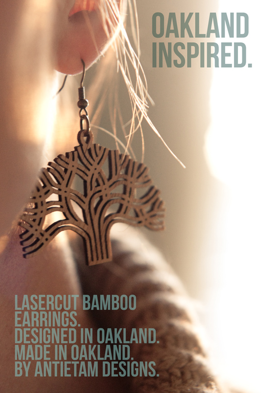ANTIETAM DESIGNS: OAKLAND LASERCUT EARRINGS ON EAR
