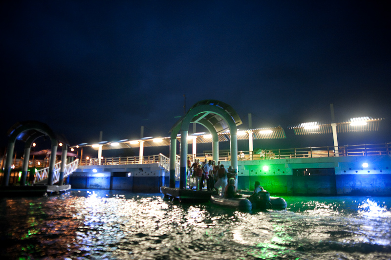 the docks at night in puerto ayora