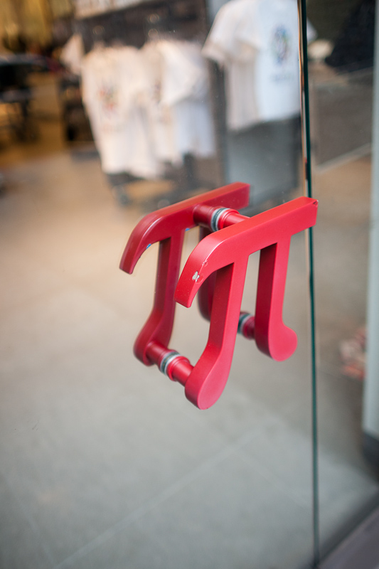 pi door handles at MoMath
