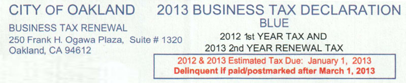 City of Oakland Business Tax Declaration Form Header