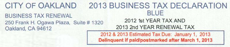 City of Oakland Business Tax Declaration Form Header
