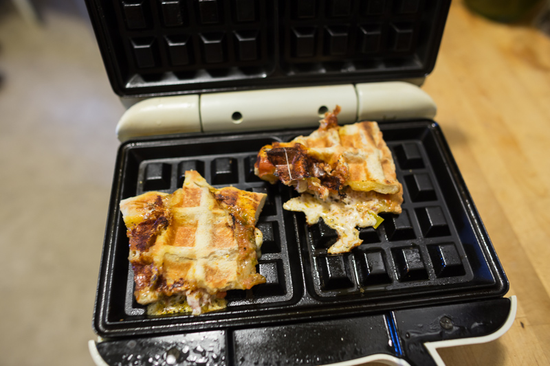 reheating pizza in a waffle iron