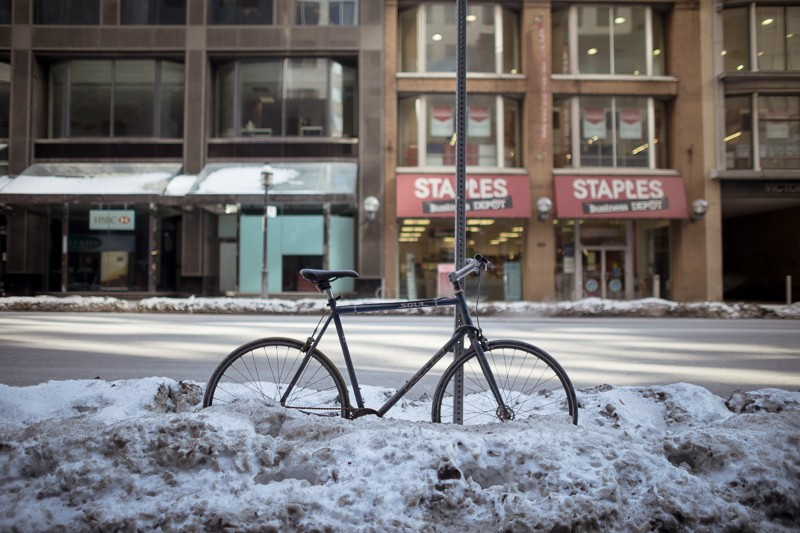 khs bike stuck in the snow in toronto